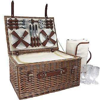 6 Pessoas Classic Wicker Fitted Picnic Basket