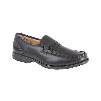 Roamers Black Leather Apron Slip-on Casual Shoe