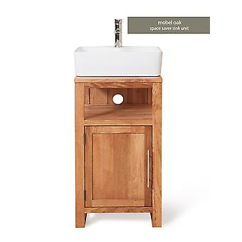 Baumhaus Mobel Oak Bathroom Collection Single Door Sink Unit Square