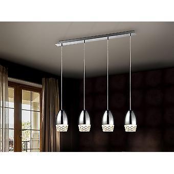 Schuller Alessa - Lampe de 4 lumières, en métal, finition chromée. Des nuances de verre moulé. Longueur réglable. - 553472