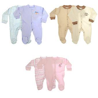 Baby lange mouw 100% katoen kruippakjes (Pack van 2)-3 ontwerpen jongens/meisjes opties