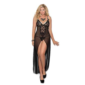 Womens Plus Size Classic Long Mesh Lace Panel High Front Slit Gown Lingerie