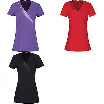 Premier Womens/Ladies Rose Beauty & Spa Wrap Satin Trim Tunic (Pack of 2)
