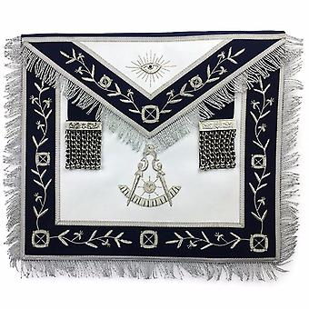 Masonic lodge past master silver handmade embroidery apron navy
