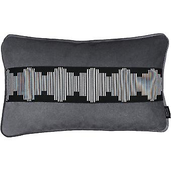 Mcalister textiles maya stripe embroidered charcoal grey pillow