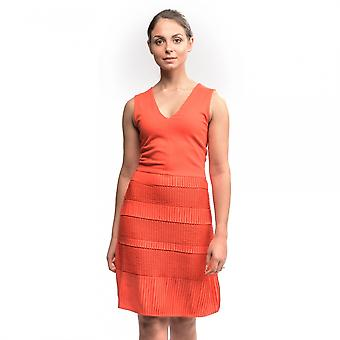 French Connection Pleat Lace Jersey S/LS V-Neck Womens Dress