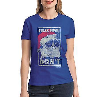 Grumpy Cat Feliz Navi Don?t Women's Royal Blue T-shirt