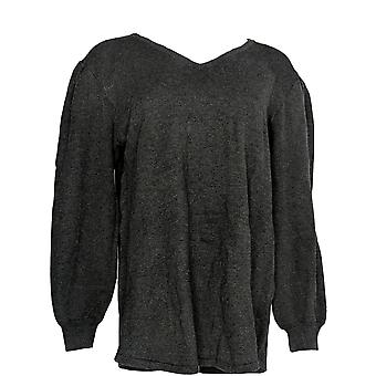 Estilo & Co. Mulheres 's Suéter Pequeno V-neck Heather Black