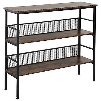 HOMCOM 3-Tier Industrial Style Storage Display Shelf Metal Frame Adjustable Feet Back Panels Smooth Surface Home Office Stylish Black Brown