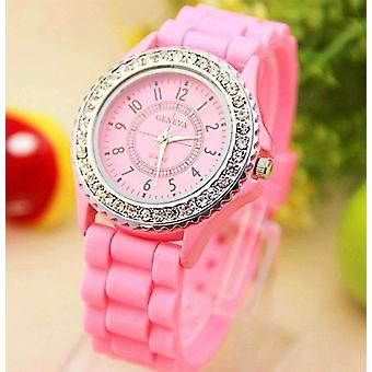 Sparkly silky silicone watch in pink for woman