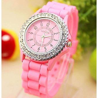 Orologio in silicone setoso scintillante in rosa per donna