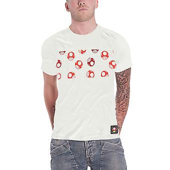 Super Mario T Shirt Toad All Over Print nouveau officiel Mens White