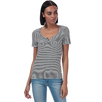 Women's Only Bella Placket Stripe T-Shirt in White