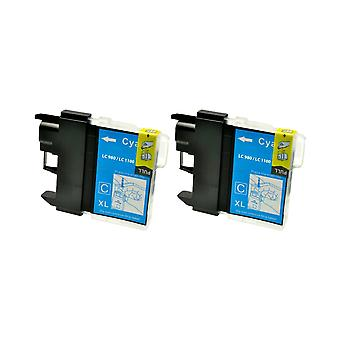 RudyTwos 2x Replacement for Brother LC-980C Ink Unit Cyan Compatible with MFC-250C, MFC-255CW, MFC-290C, MFC-295CN, MFC-297C, MFC-490CN, MFC-5490CN, MFC-5890CN, MFC-790CW, MFC-795CW, MFC-6490CW, MFC-6