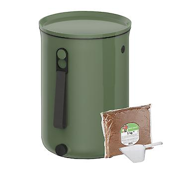 Skaza Bokashi Organko 2 | Bekroonde keukencompostcontainer van gerecycled kunststof | 9,6 L | Startersset voor keukenafval en compostering | met EM beregening 1 kg | Olijfgroen