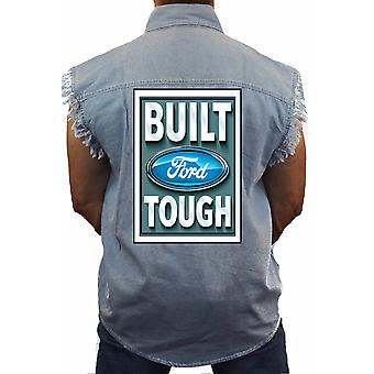 Men's Sleeveless Denim Shirt Ford Built Tough Ford Racing Biker