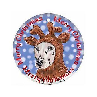 Dalmatian Christmas Round Metal Sign