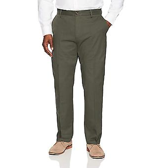 Essentials Men's Classic-Fit Wrinkle-Resistant Flat-Front Chino Pant, Olive, 42W x 28L