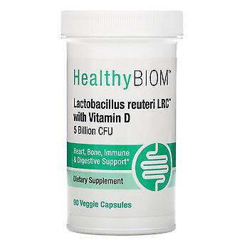 HealthyBiom, Lactobacillus Reuteri LRC with Vitamin D, 5 Billion CFUs, 90 Veggie