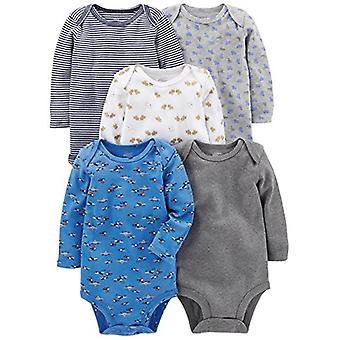 Simple Joys by Carter's Baby Boys' 5-Pack Long-Sleeve Bodysuit, Blue/Gray, 24...