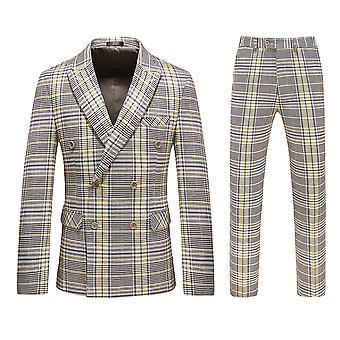 Allthemen Men's 3-dielny elegantný jednoradový business kockovaný oblek