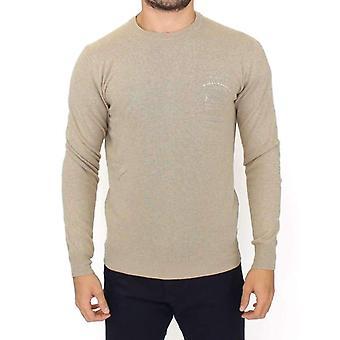 Beige Wool Cashmere Crewneck Pullover Sweater -- SIG1154053