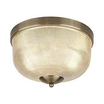 Searchlight Bistro - 2 Light Flush Tak Ljus Antik Mässing, Glas Skugga, E27