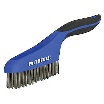 Faithfull Scratch Brush Soft Grip 4 x 16 Row Stainless FAISB164SS