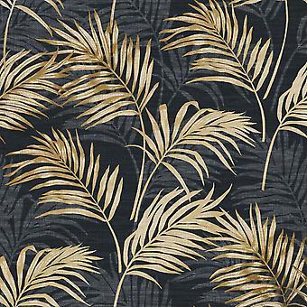 Lounge Palm Wallpaper Black / Gold GranDeco A46104