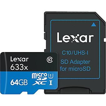 64GB Lexar 633x HS microSDXC UHS-I C10 with Adapter