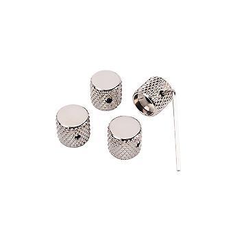 4PCS Electric Guitar Bass Tone Volume Metal Control Knobs Cap Nickel
