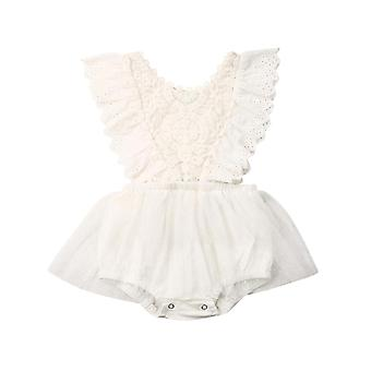 Newborn Baby Flower Lace Romper, Bodysuit / Jumpsuit Tutu Dress