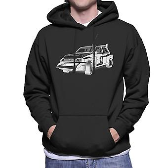 MG Metro 6R4 Zwart-Wit British Motor Heritage Men's Hooded Sweatshirt