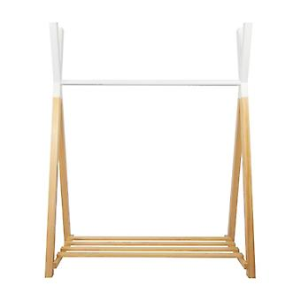 Puckdaddy tige de robe Hugo 115x50x142cm Portemantelle en bois de pin Tipi Design en blanc nature