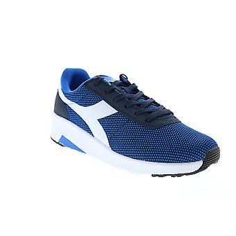 Diadora Evo Run  Mens Blue Canvas Lifestyle Sneakers Shoes