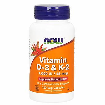 Now Foods Vitamin D-3 & K-2, 45 mcg, 120 Veg Caps