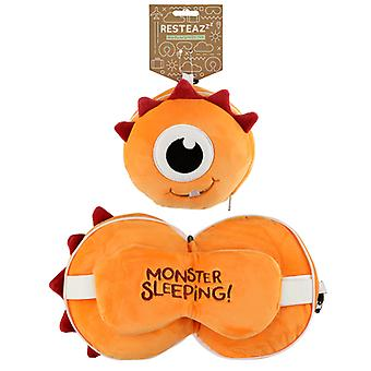 Monstarz Monster Orange Relaxeazzz Plush Round Travel Pillow & Eye Mask Set