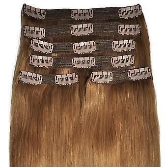 #12 Light Chestnut Brown - Clip in Hair Extensions - Full Head - DELUXE - #12 - Natural Light Auburn
