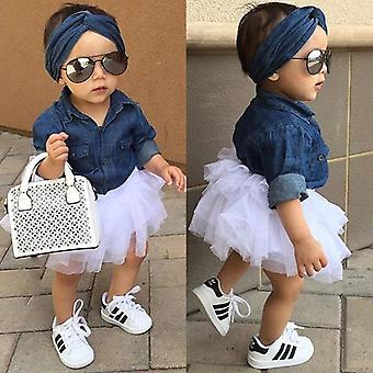 Baby Summer Clothing Denim Shirt Top +tutu Skirts+headband Outfits Sets 0-5t