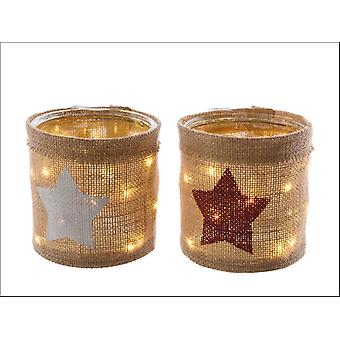 Kaemingk LED Planter Jute Red + White Star 482818