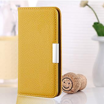 For iPhone 8 Plus / 7 Plus Litchi Texture Horizontal Flip Leather Case with Holder & Card Slots(Yellow)