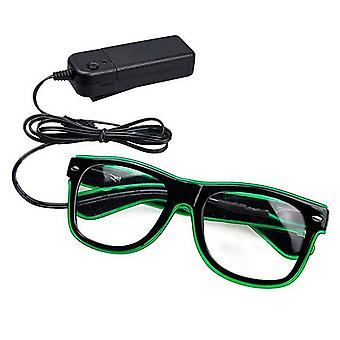Flo Party Flashing LED Luminous Sunglasses, Black Frame With Green Light Colour