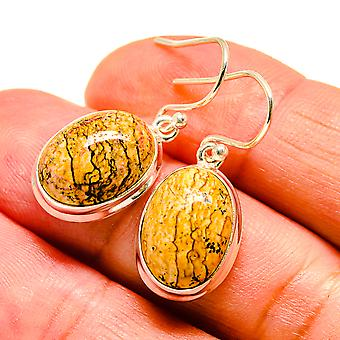 "Picture Jasper Earrings 1 1/4"" (925 Sterling Silver)  - Handmade Boho Vintage Jewelry EARR408369"