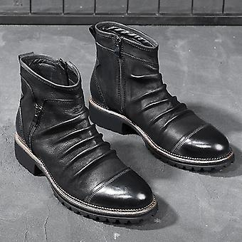 Men's Vintage Leather Style, High Top Zipper, Ankle Boots