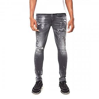 Amicci Tortona Skinny Fit Stretch Washed Grey Denim Rip & Repaired Jeans