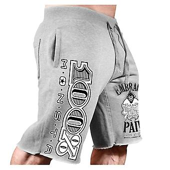 כותנה מכנסיים קצרים משוחררים לגברים, פיטנס פיתוח גוף עמיד מכנסי טרנינג,
