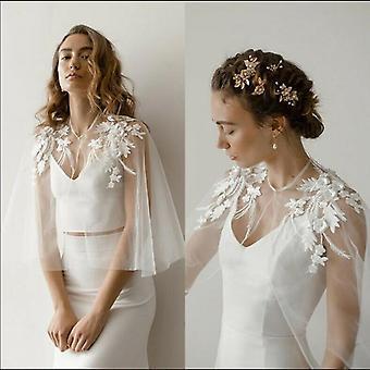 لينة تول الزفاف الرأس الكتف appliques الزفاف سترة الدانتيل المرأة ارتداء الرسمية