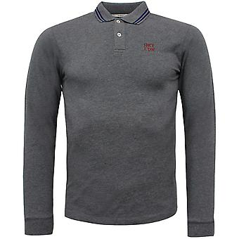 Hackett Mens Pique Long Sleeved Polo Top Grey Shirt HM550805 963