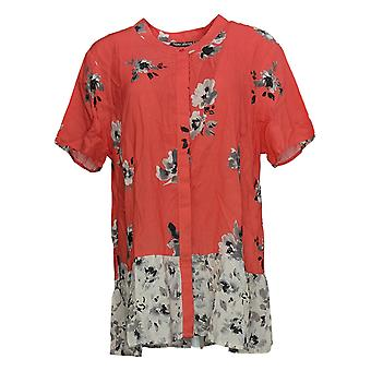 Tolani Women's Petite Top Printed Button Front Woven Pink A347423