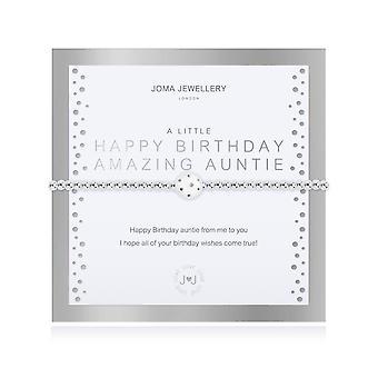 Joma smykker lidt tillykke med fødselsdagen Amazing tante Sølv 17,5 cm Stretch armbånd 4323